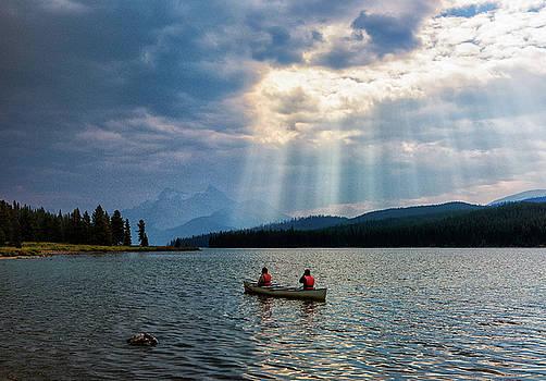 Canoeists on Maligne Lake by Dennis Kowalewski