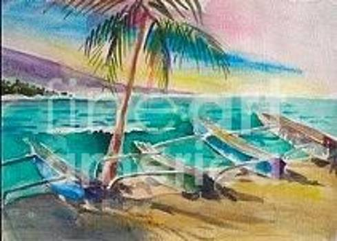 Canoes at Ho'okena by Diane Renchler