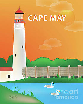 Cape May, New Jersey Vertical Scene by Karen Young