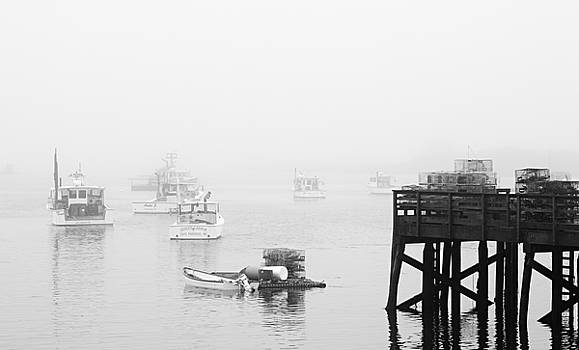 Cape Porpoise Lobster boats in fog by David Smith