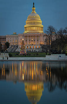 Capitol Reflection at Christmas by Cindy Lark Hartman