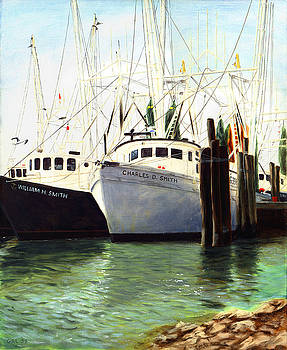 Captains Smith Morehead City North Carolina Original Fine Art Oil Painting by G Linsenmayer