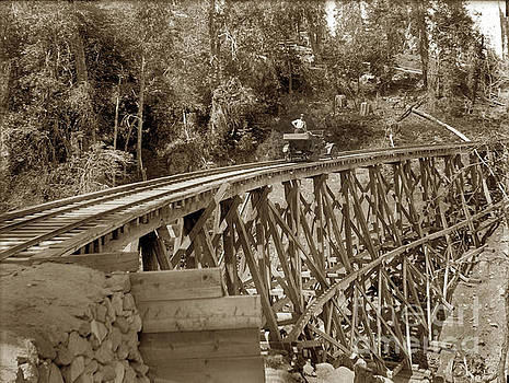 Car on a wooden railroad Trestle Circa 1915 by California Views Mr Pat Hathaway Archives