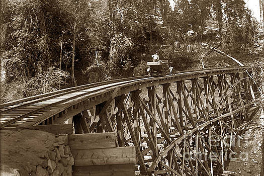 California Views Mr Pat Hathaway Archives - Car on a wooden railroad trestle circa 1916