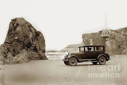 Car on beach Pismo Caves 1926 by California Views Mr Pat Hathaway Archives
