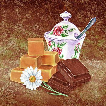 Caramel Chocolate Daisy Watercolor by Irina Sztukowski