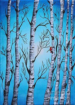 Barbara Griffin - Cardinal and Birch Trees