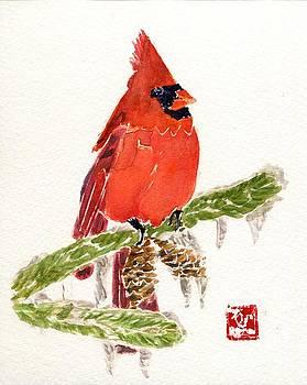 Cardinal in Winter by Andrea Rubinstein