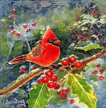 Cardinal with Berries by Eileen  Fong