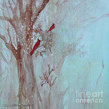 Cardinals in Trees Whilst Snowing by Robin Maria Pedrero