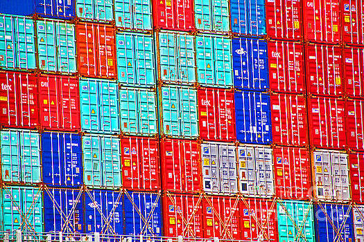 Cargo Containers Red White and Blue by David Frederick