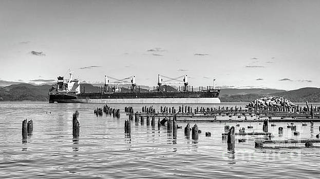 Cargo Ship, Columbia River BW by Jerry Fornarotto