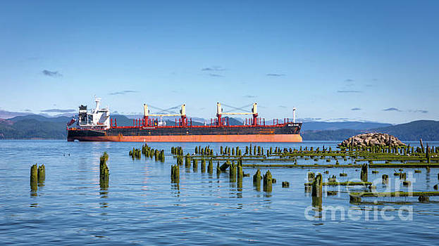 Cargo Ship Columbia River by Jerry Fornarotto