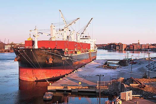 Cargo Ship in Portsmouth Harbor by Eric Gendron