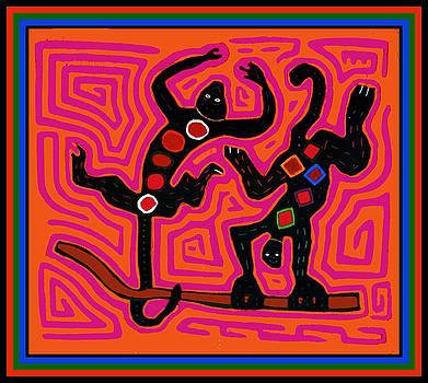 Caribbean Playful Monkeys by Vagabond Folk Art - Virginia Vivier