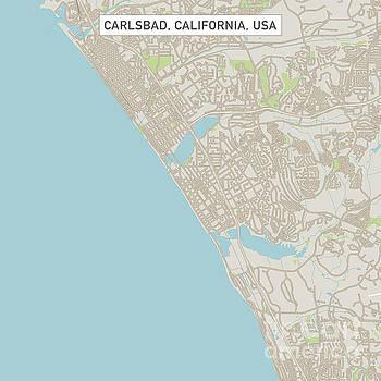 Carlsbad California US City Street Map by Frank Ramspott