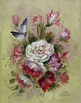 David Jansen - Carnations and Butterfly