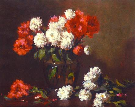 Carnations in clear vase by David Olander