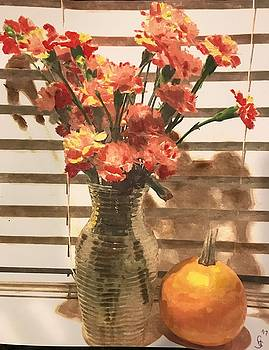 Carnations with pumpkin by Gary Springer