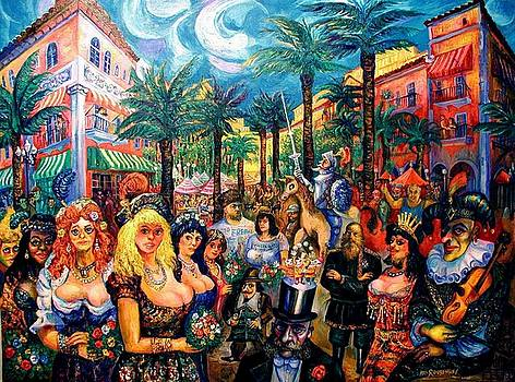 Carnival In Miami, on Espanola Way by Ari Roussimoff