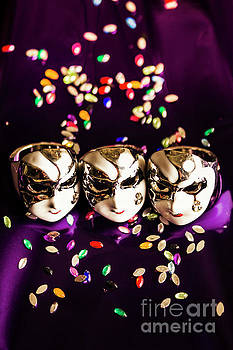 Carnival Mask Jewelry On Purple Background by Jorgo Photography - Wall Art Gallery