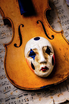 Carnival Mask On Old Violin by Garry Gay