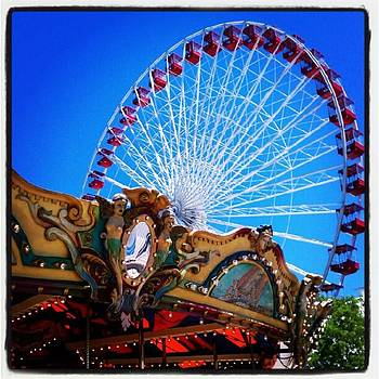 Carousel And Ferris Wheel At Navy Pier by Tammy Winand