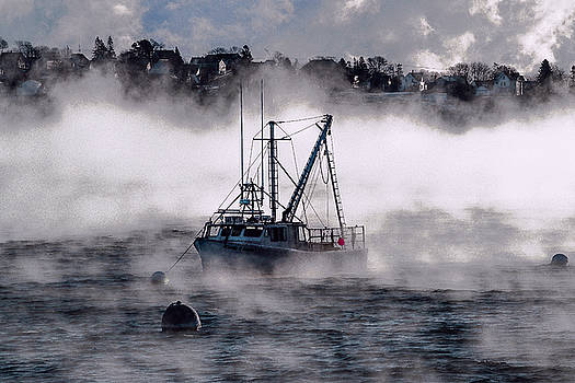 Carrie and Kayla Moored in Sea Smoke by Marty Saccone