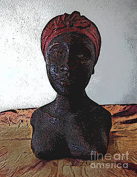Carved Wood Bust of Caribbean Woman by Phil Perkins