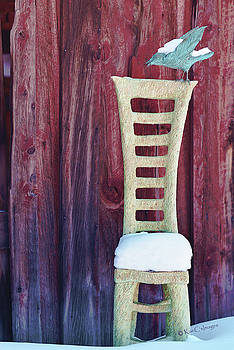 Carved Wooden Chair and Crow in Winter by Kae Cheatham