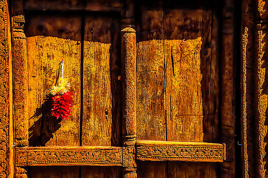 Carved Wooden Door And Peppers by Garry Gay