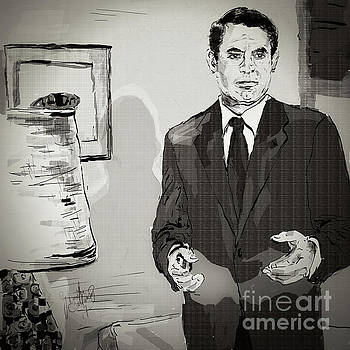 Cary Grant North by Northwest Monotone by Ginette Callaway