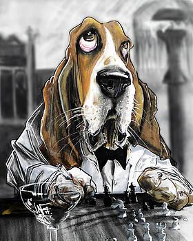 John LaFree - Casablanca Basset Hound Caricature Art Print