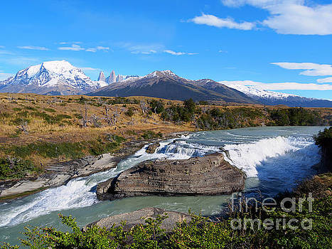 Cascada Paine on Rio Paine in Torres del Paine National Park Chile by Louise Heusinkveld