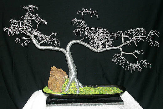 Cascade No.5. Wire Tree Sculpture, with hammered leaves. by Sal Villano