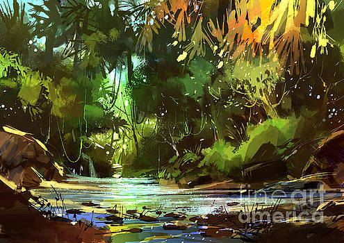 Cascades In Forest by Tithi Luadthong