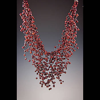 Cascading Cranberry Freshwater Pearls by Ella Lazkovich