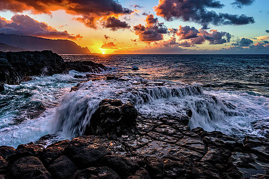 Cascading Water at Sunset by John Hight