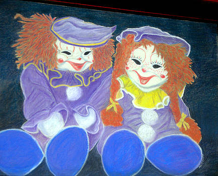Aunt Cassies Raggedy Ann and Andy  Pastel by Antonia Citrino