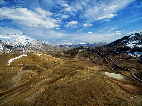 Castelluccio Waits for You - Aerial image by David Daniel