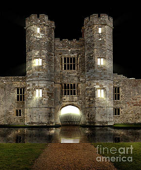 Simon Bratt Photography LRPS - Castle at night with moat and lights glowing