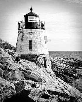 Castle Hill Lighthouse in Black and White by Emily Kay