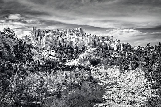 Castle in the sky in black and white - Water Canyon by Daniela Constantinescu