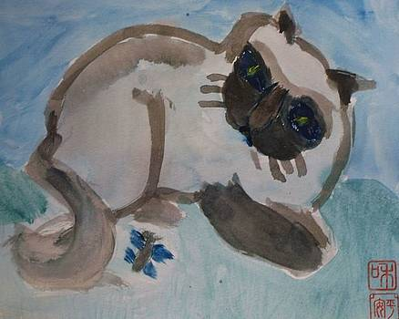 Cat and butterfly by Annie Dameron