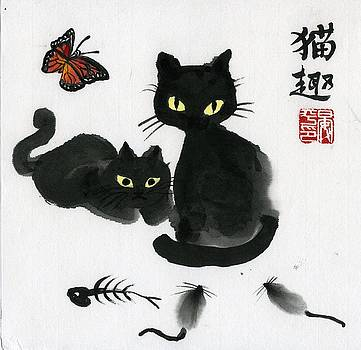 Cat And Butterfly by Ping Yan