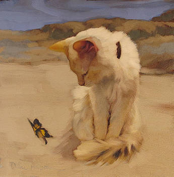 Cat and Butterfly V by Diane Hoeptner