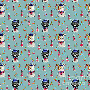 Cat and Dog Sailors Watercolor Pattern by NamiBear