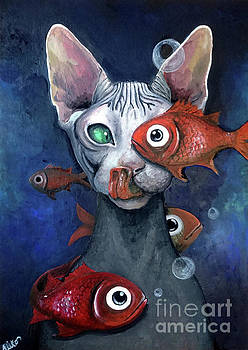 Cat And Fish by Akiko Okabe