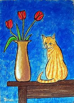 Cat and Tulips by Brian Van der Spuy