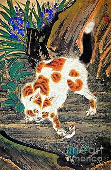 Peter Ogden - Cat Catching a Frog by Kawanabe Kyosai Japanese Meiji Period
